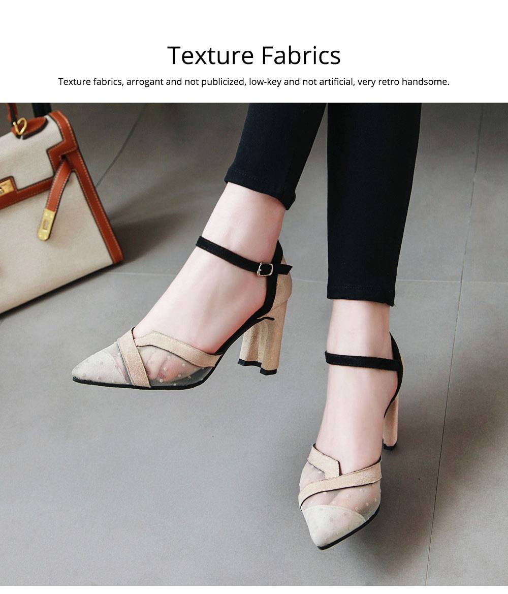 Lady Shallow Pointed Thick High Heels, One-word Buckle Hollow Single Shoe, Style Sandals 2019 Summer 5