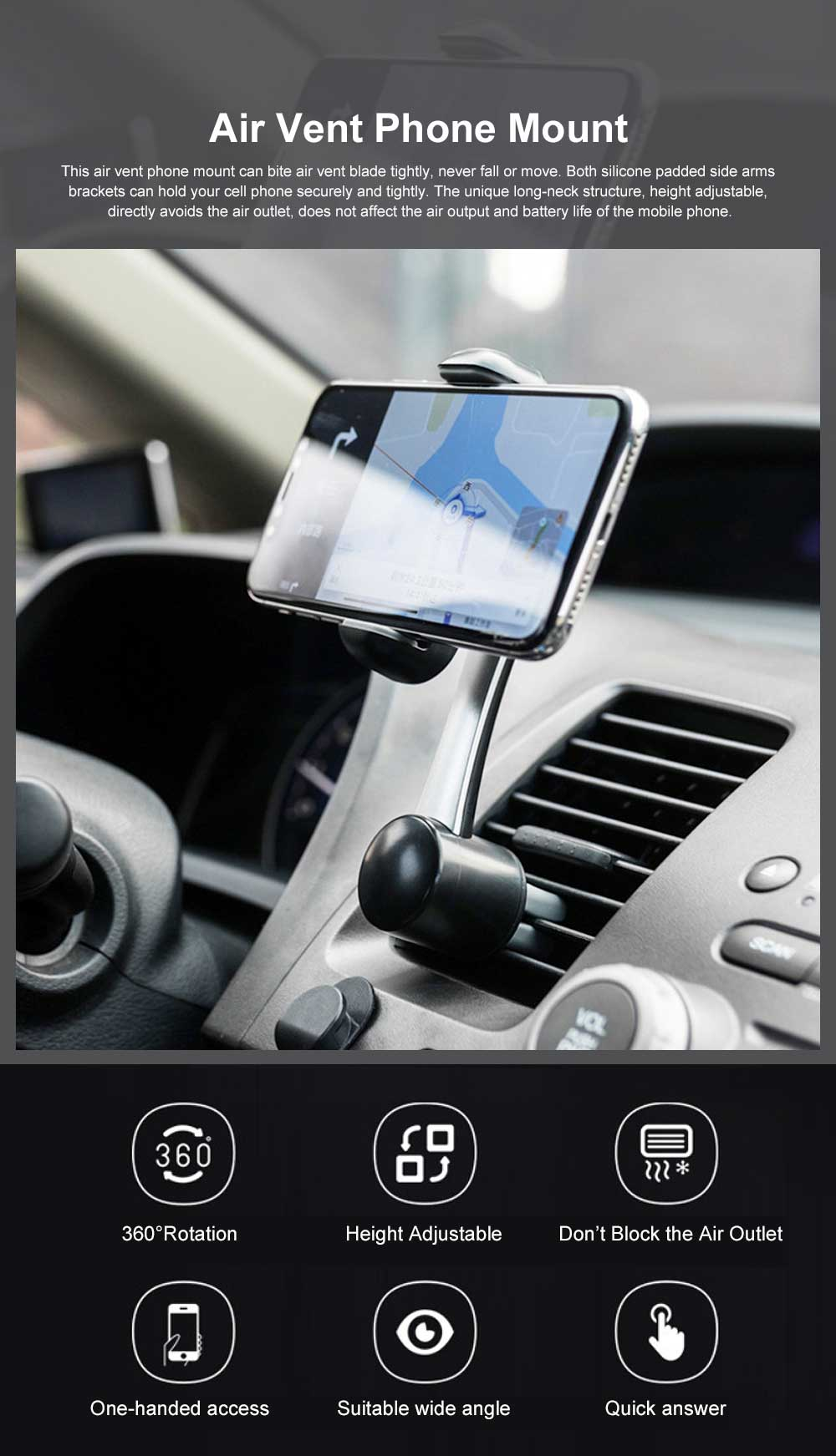 Air Vent Car Phone Mount 360 Degree Rotation Height Adjustable Phone Holder Universal Air Outlet Bracket for Phone 4-6 Inch 0