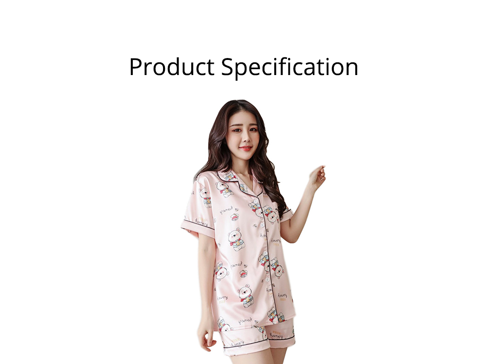 Women Summer Pajamas, Open-top Lapel Silk-like Short Sleeves, Printed Household Clothing for Lady Girl 7