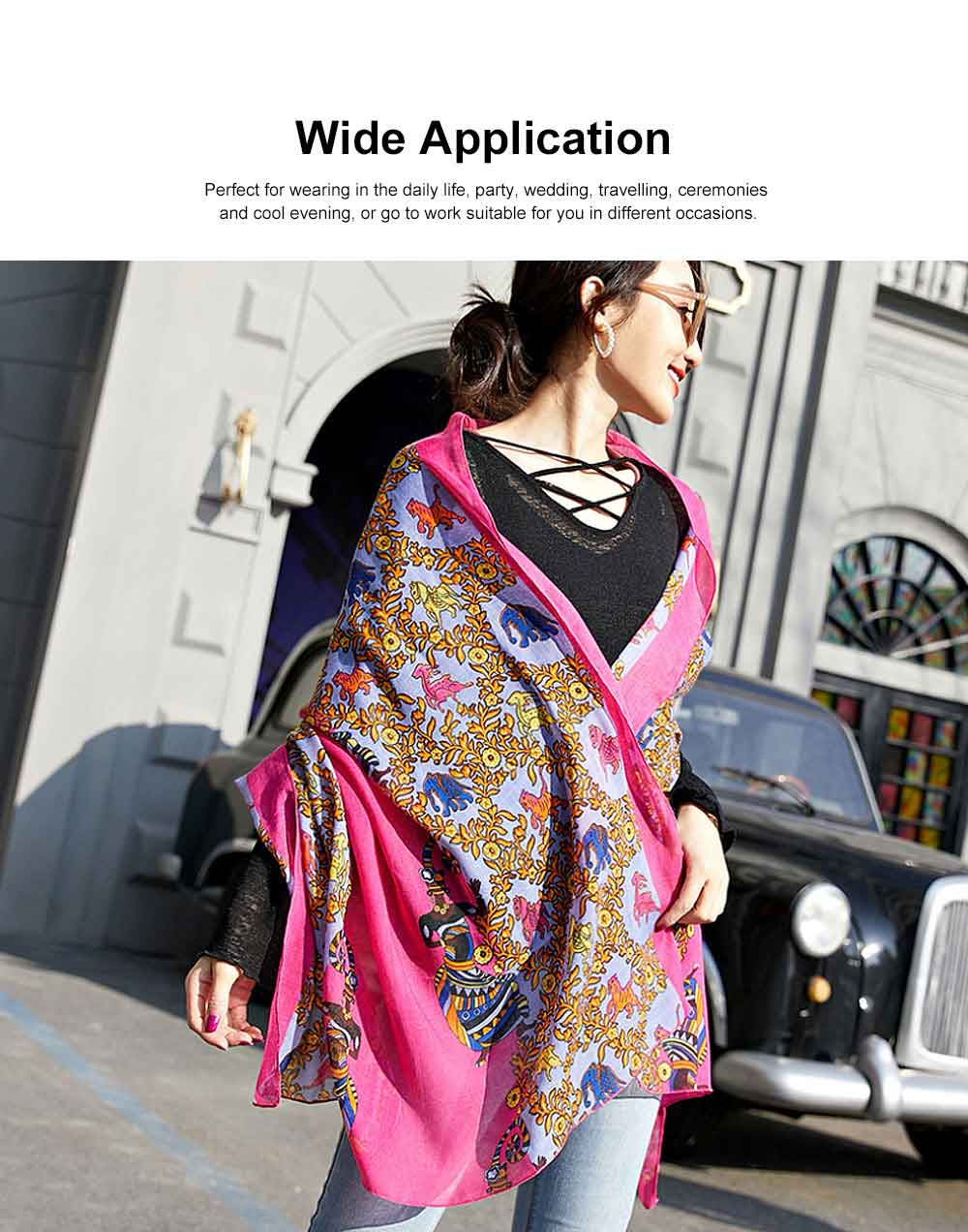 Women Printing Scarves Large Sunscreen Shawl Beach Cover-up Fashion Accessories Best Gifts for Women 3