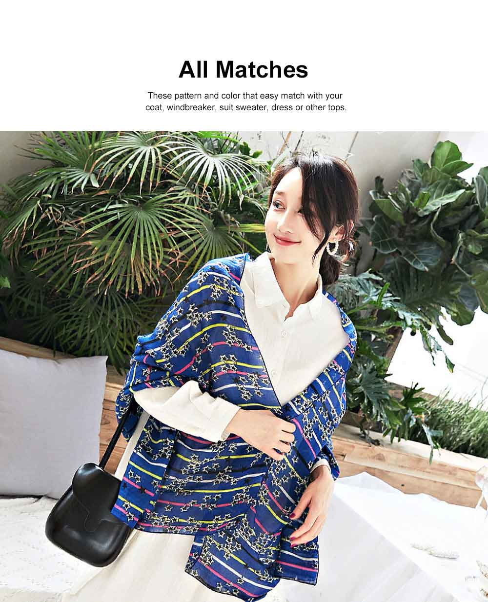 Women Cotton Linen Scarves Wild Print Sunscreen Beach Cover-up Shawl Fashion Accessories Best Gifts for women 1