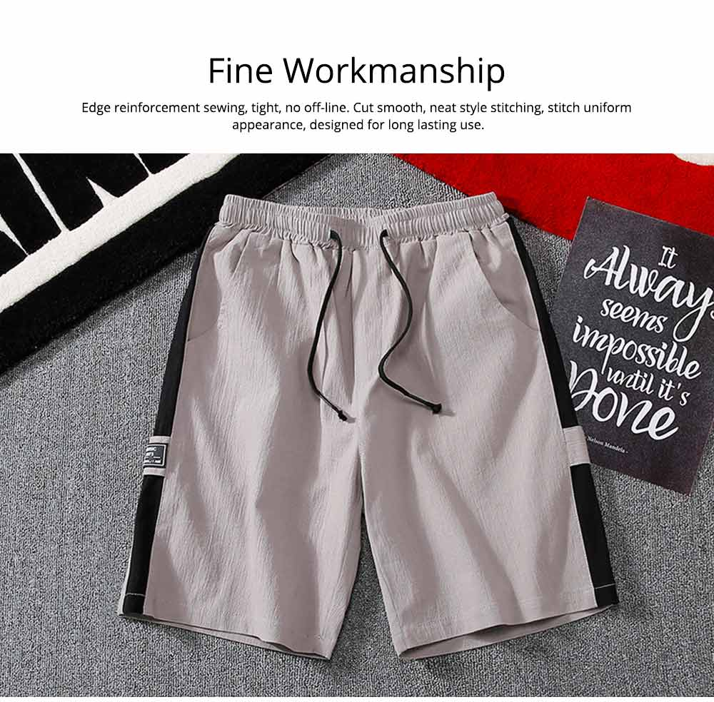 Men's Cotton Casual Shorts with Elastic Waist Drawstring, Classic Fit Short Summer Beach Shorts for Youth Men 2