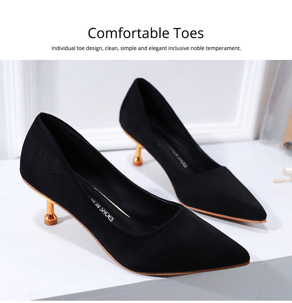 Spring Pointed Slim-heeled Single Shoes, Suede Ladies High-heeled Shoes in 2019, Lady's Black High-heeled Shoes 6CM 1