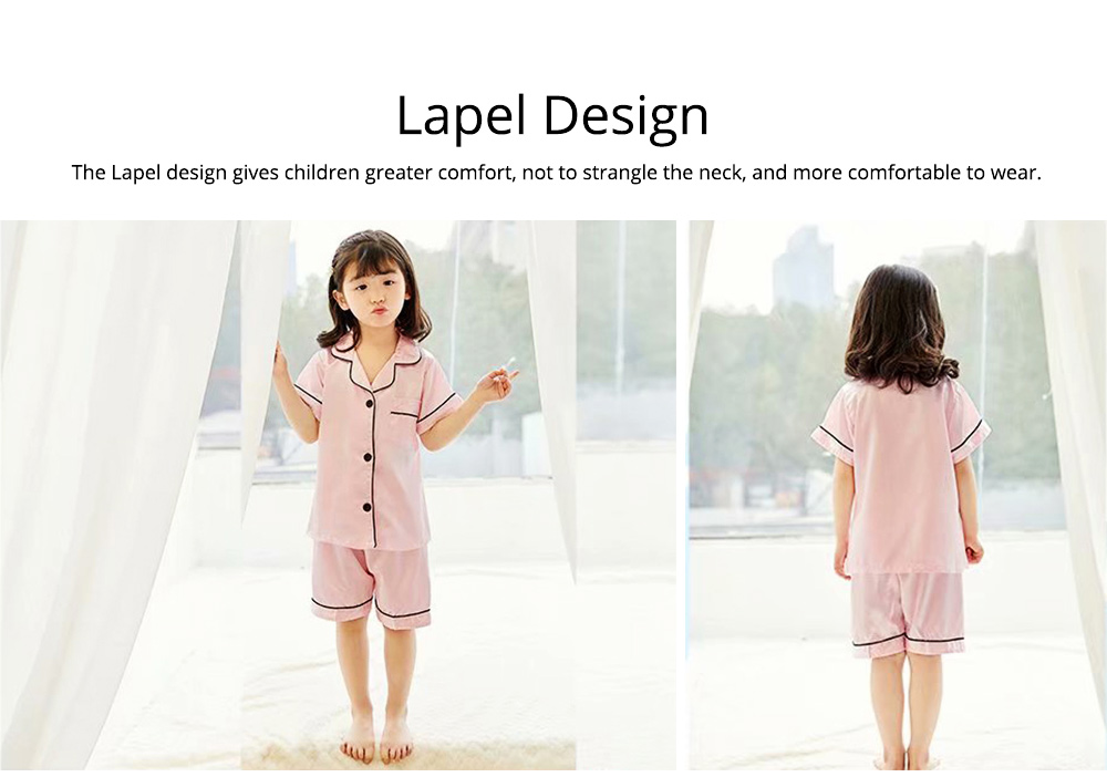 Summer Minimalist Pajamas Suit for Boys Girls, Open Shirts and Lapels Nightclothes, Silk-like Household Suit 4