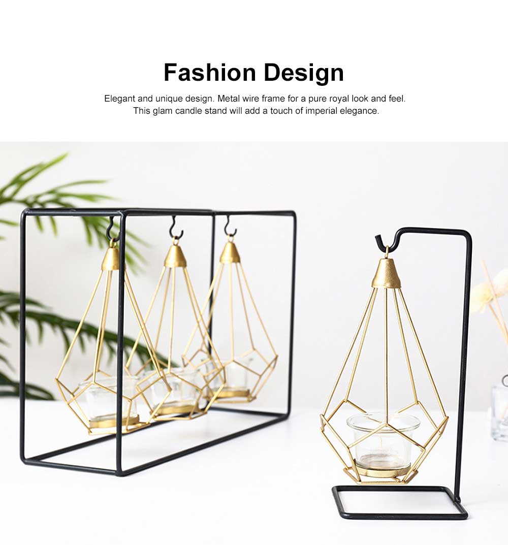 Geometric Candle Holders Modern Hollow Out Metal Iron Hanging Candlestick for Wedding Centerpiece, Table Decorations 1