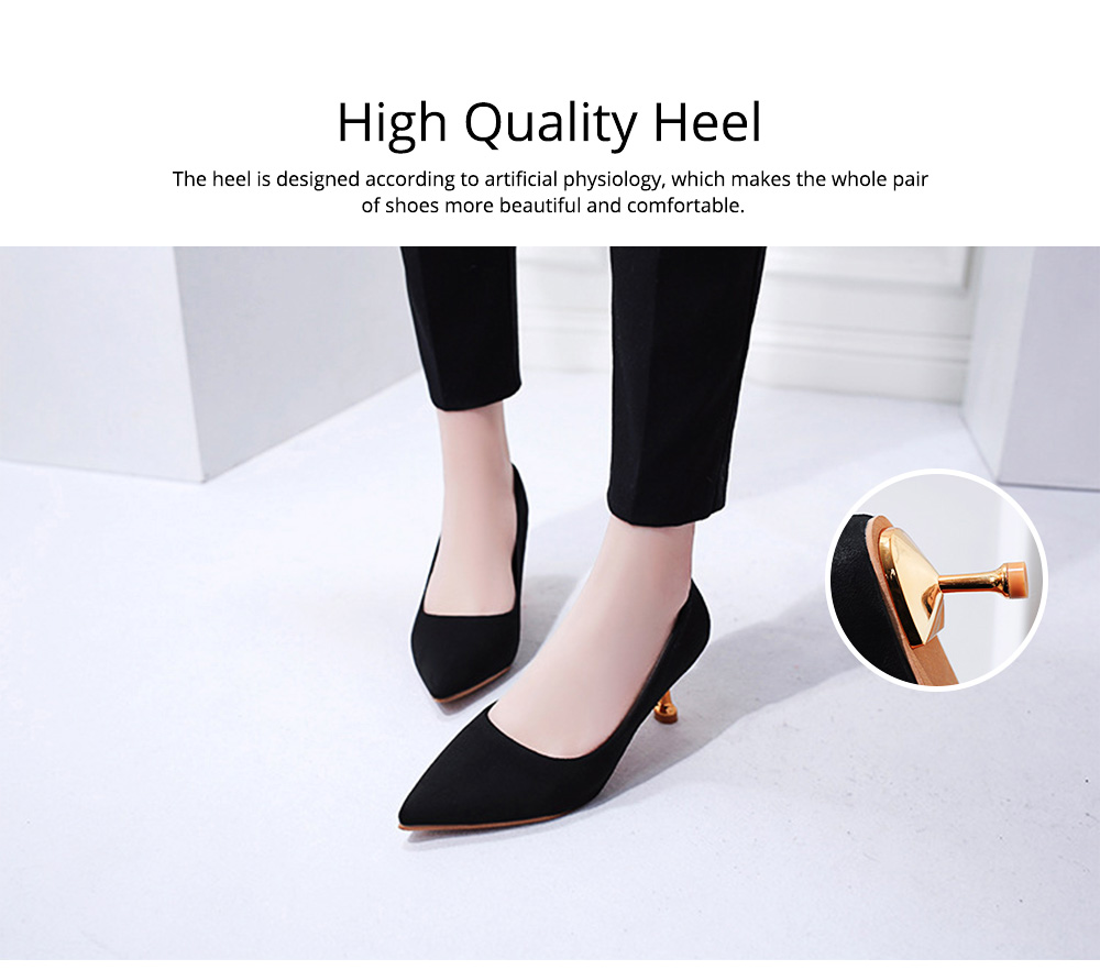 Spring Pointed Slim-heeled Single Shoes, Suede Ladies High-heeled Shoes in 2019, Lady's Black High-heeled Shoes 6CM 3