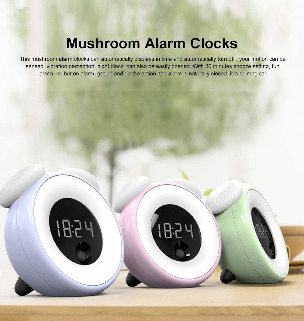 Mushroom Alarm Clocks Digital Alarm Clock Multifunctional Wake Up Intelligent Recognition Sensor Morning Clock with Night Lamp Light Best Gifts for Kids 0