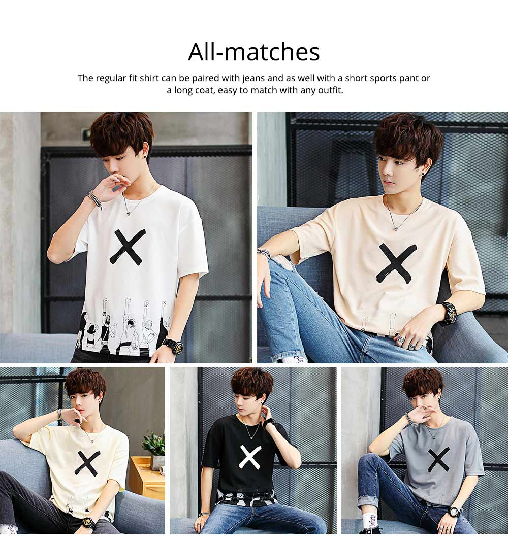 Men's Casual T-shirt, Short Sleeve Men's Tees, Fashion Stretch Creative Pattern Quick-dry T-shirts for Men 4