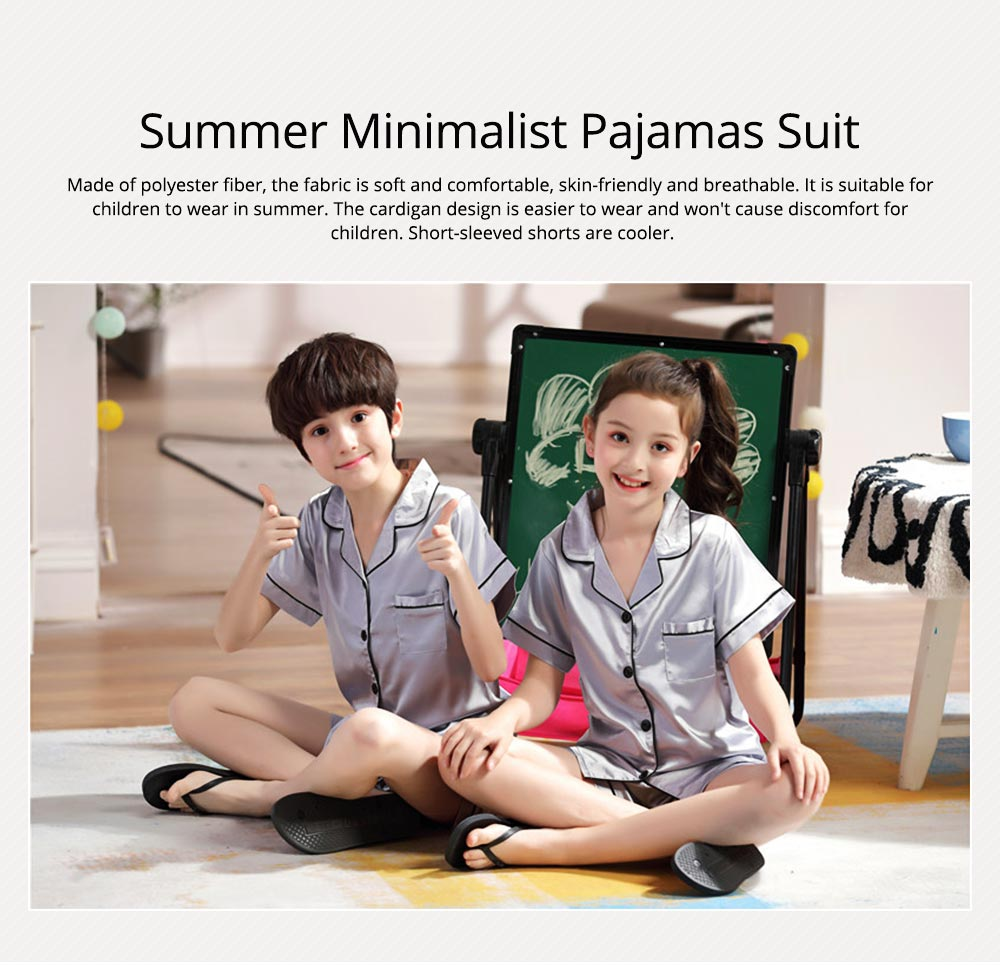 Summer Minimalist Pajamas Suit for Boys Girls, Open Shirts and Lapels Nightclothes, Silk-like Household Suit 0