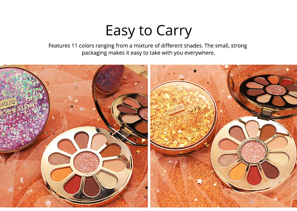 11 Colors Round Eyeshadow Palette, Shiny Palette with Brush, Makeup Tools Best Gifts for Lady, Shimmer Eyeshadow 4