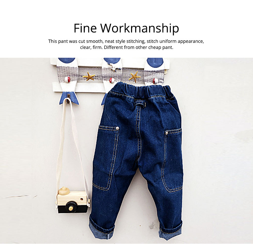 Toddler Kids Pure Cotton Denim Jeans, Breathable Warm Baby Fall Pants with Big Pockets, Baby Loose Pants 1