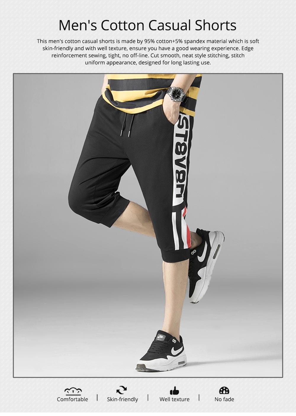 Men's Cotton Casual Shorts, Jogger Capri Pants, High Breathable Summer Short Pants with Drawstring Pockets 0