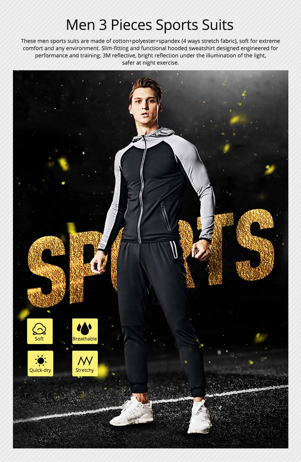 Men 3 Pieces Sports Suits Zip Up Hoodie Slim Fit Workout Hooded Sweatshirts with Zipper Pockets 0