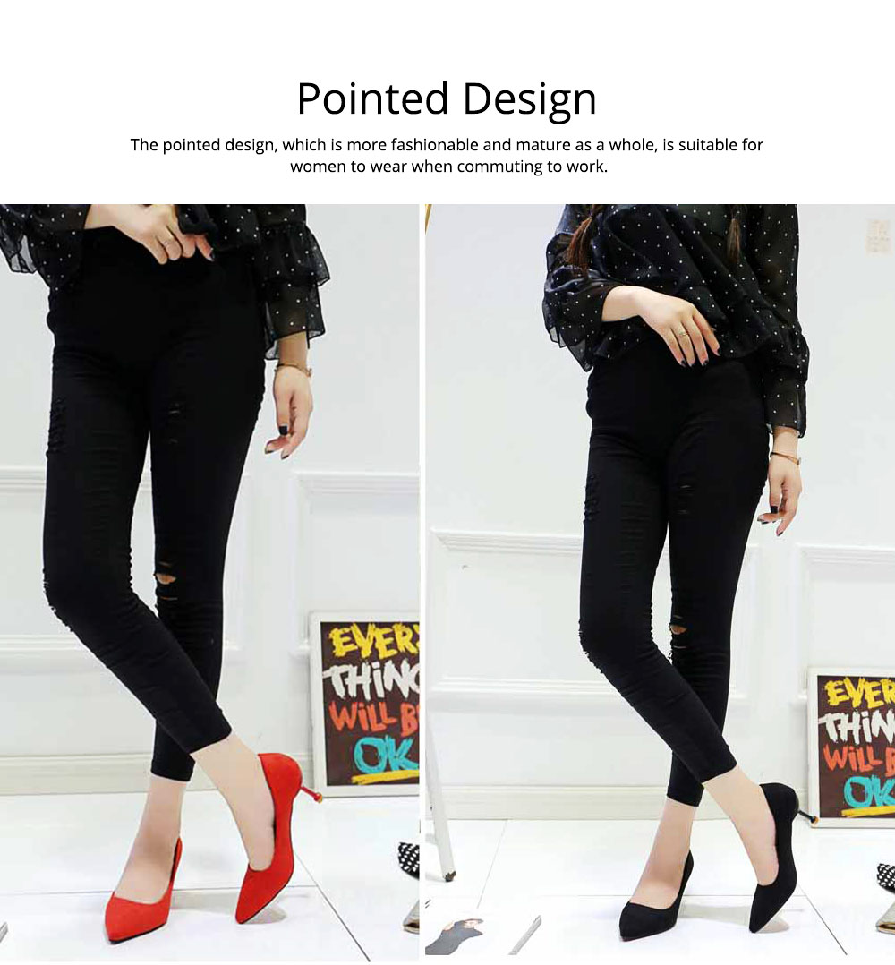Lady Cusp high-heeled shoes, Spring and Autumn 2019 New Korean Version Baitao Shallow-mouthed Fine-heeled Single Shoes Social Professional Work Shoes 2
