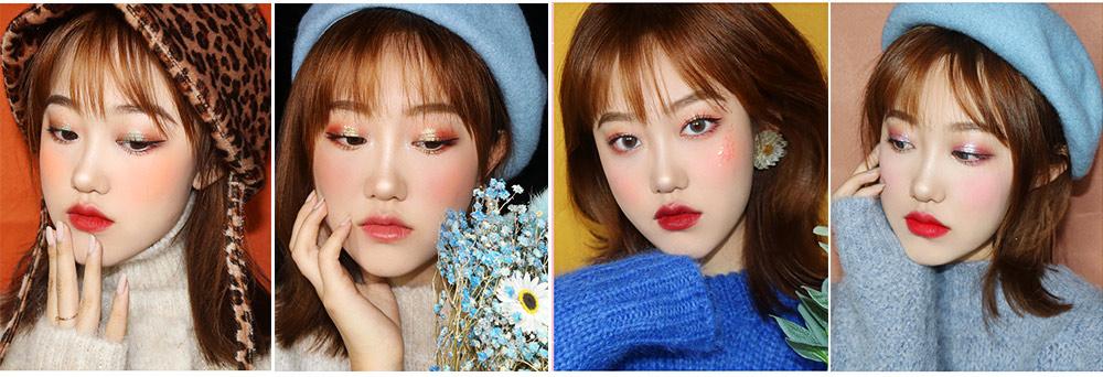 9 Colors Eyeshadow, Palette Glitter Velvet Texture Mixed Eye Makeup, Long Lasting Eye Shadow Tray Best Gift for Women 7