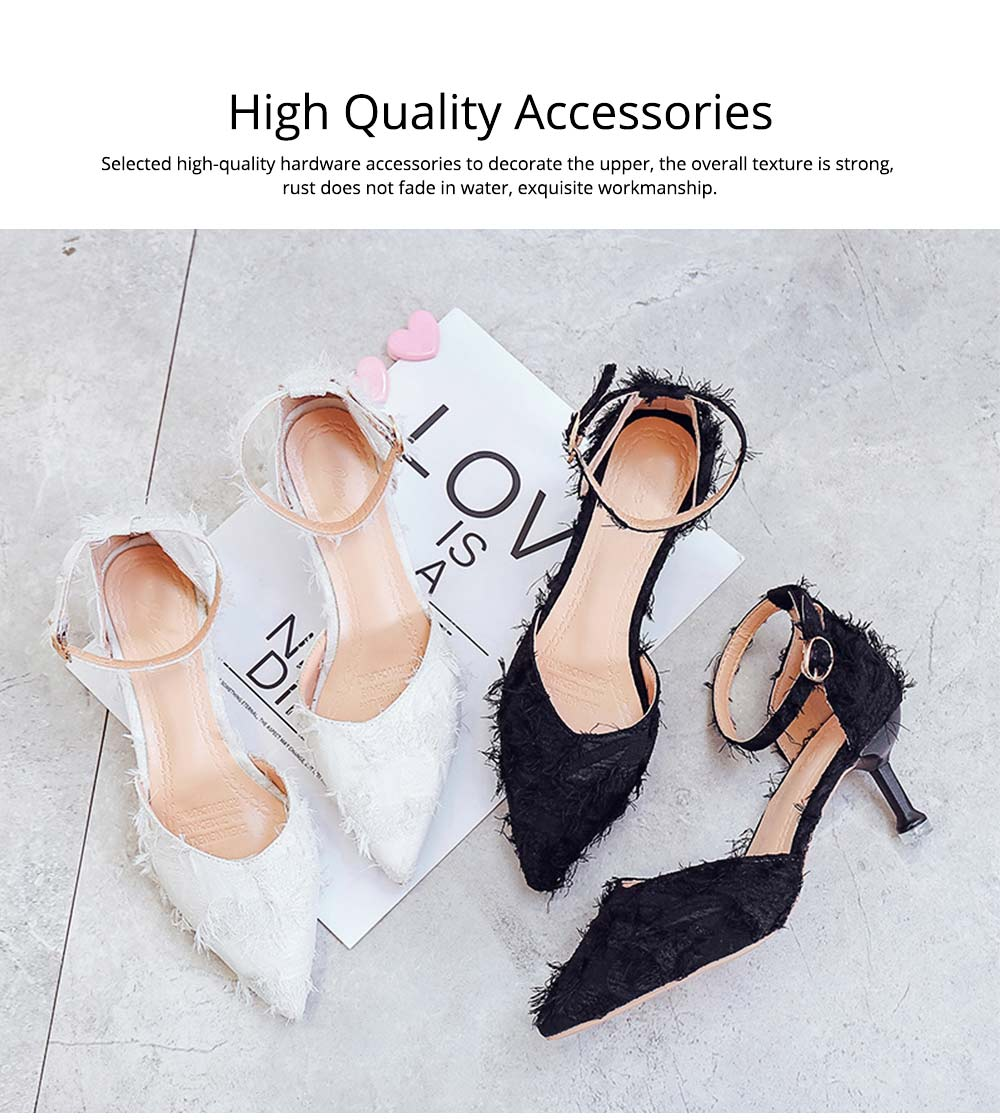 Fine-heeled Pointed High-heeled Shoes, Easy Marching One-word Button Middle Heels, Women's Hollow Sandals 5