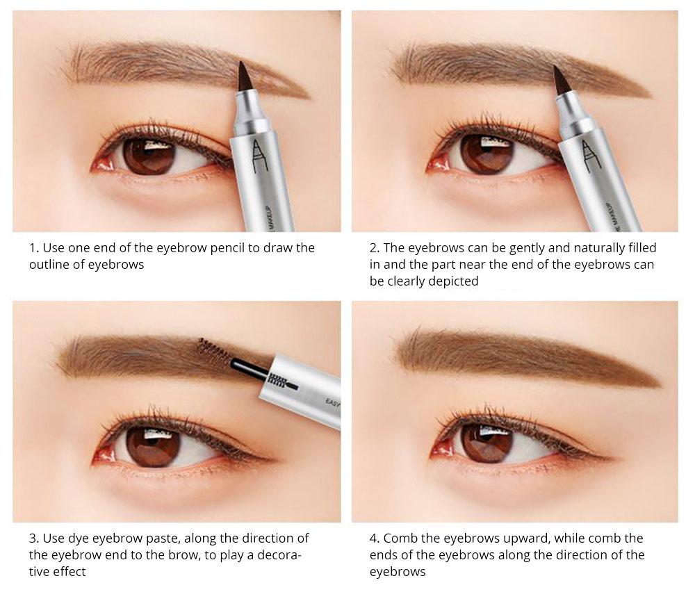 Dye Cream Eyebrow, Mark Pen Nib Eyebrow Pencil, Waterproof Eyebrow Pencil with Brush 2 Colors Available 6