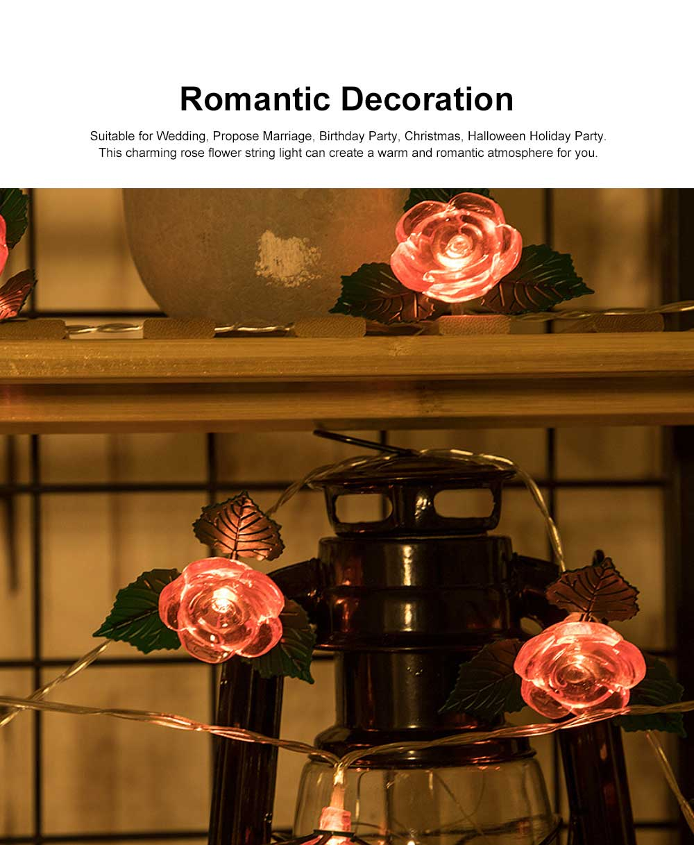 LED Rose Flower String Lights Copper Wire Battery Operated Lights Romantic Rose Lamp for Wedding Home Party Birthday Festival Indoor Outdoor Decorations 2