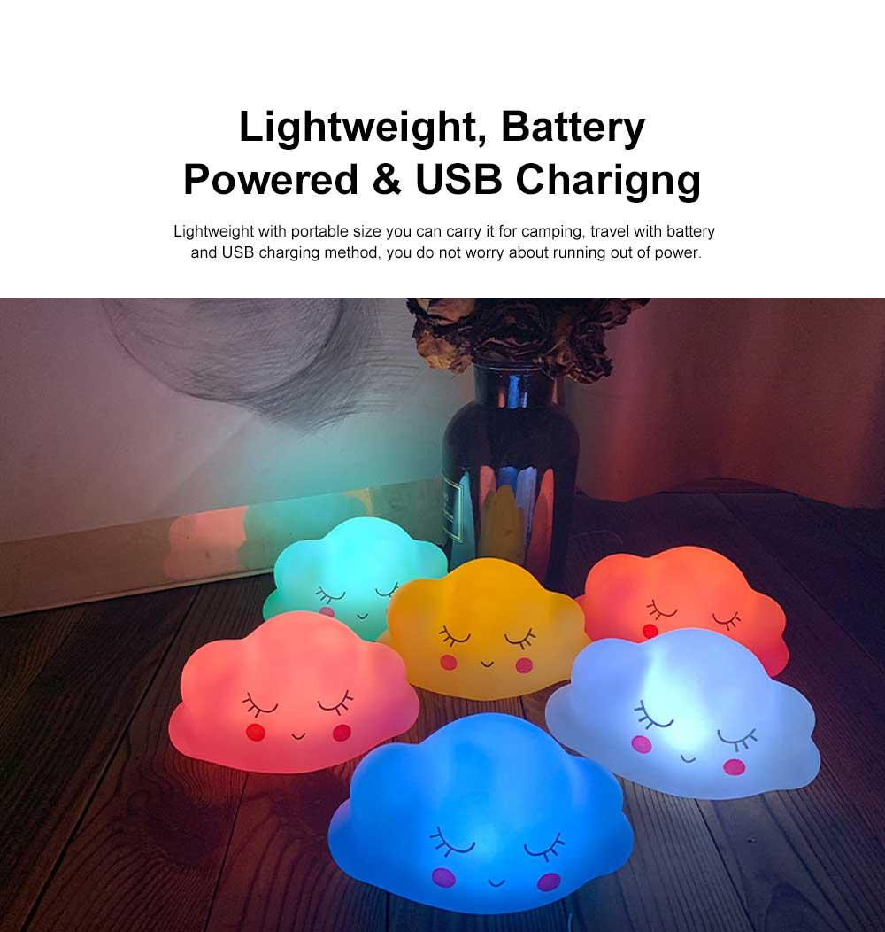 LED Cloud Shape Smile Night Light, Warm Lighting Colorful Bed Side Lights, Home Decor for Kids Baby Nursery Living Room Dorm 3