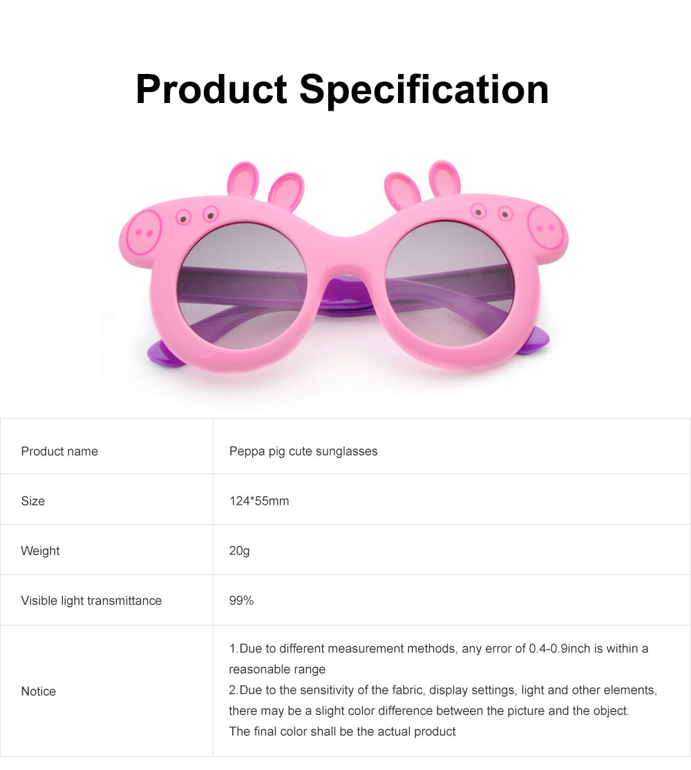 Peppa Pig Cute Sunglasses Children Cartoon UV400 Sun Protection Kid Costume Sunglasses Best Gifts for Kids 6