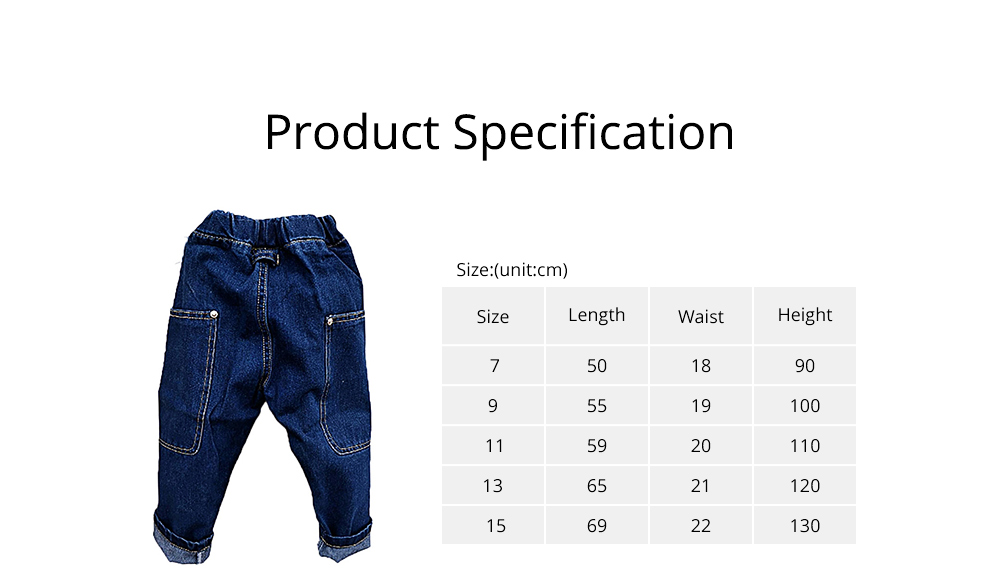 Toddler Kids Pure Cotton Denim Jeans, Breathable Warm Baby Fall Pants with Big Pockets, Baby Loose Pants 6