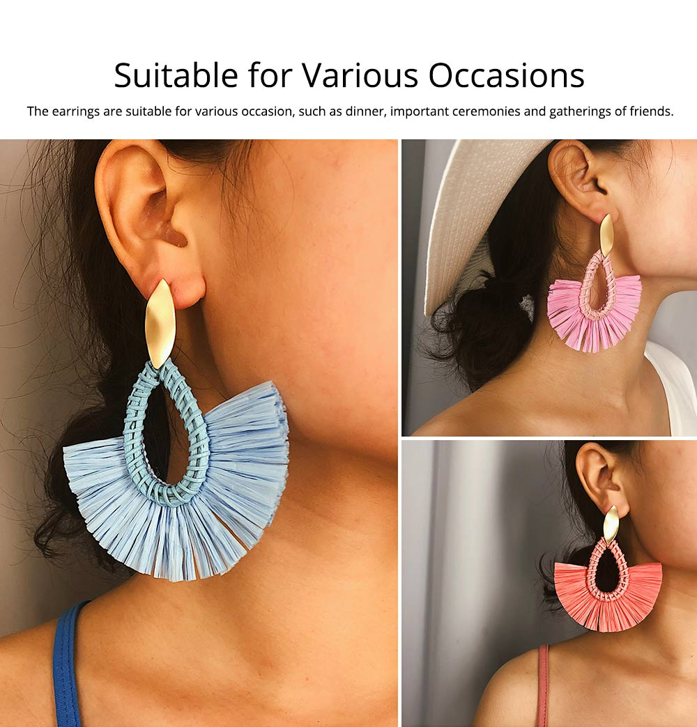 Teardrop Rattan Earrings, Grass Rattan Braid Drip-shaped Ear Nails, Creative Handmade Earrings 4