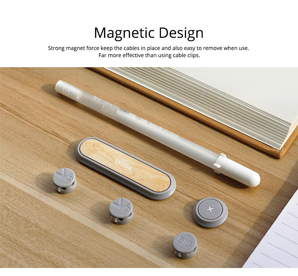 Magnetic Data Cable Organizer, Walnut Desktop Cable Clips & Cord Management with 3-pack Cable Buckles 1