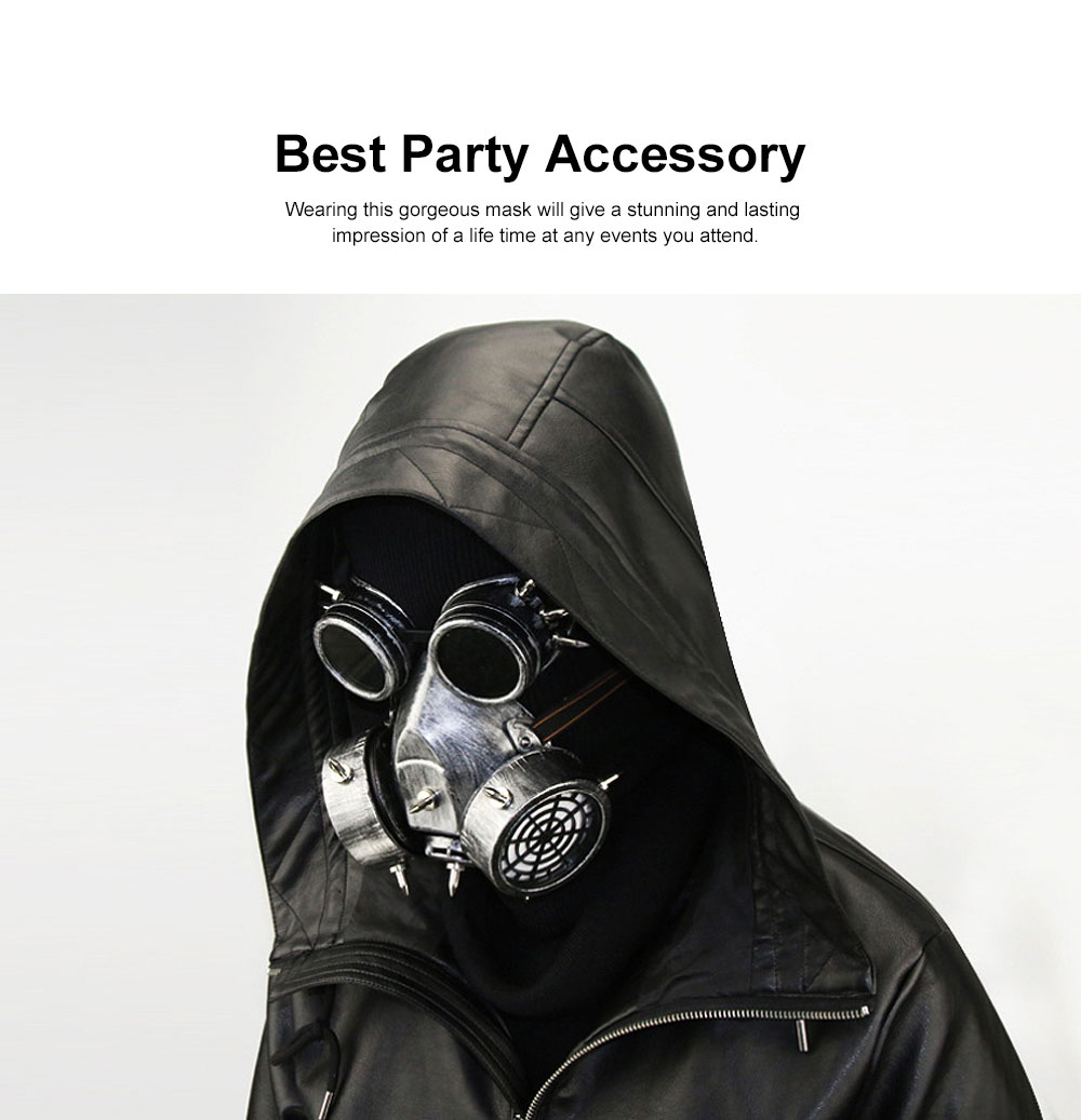 Steampunk Gas Mask Rivet Goggles Resin Skeleton Warrior Death Mask Masquerade Cosplay Accessories for Halloween Party Gift 1