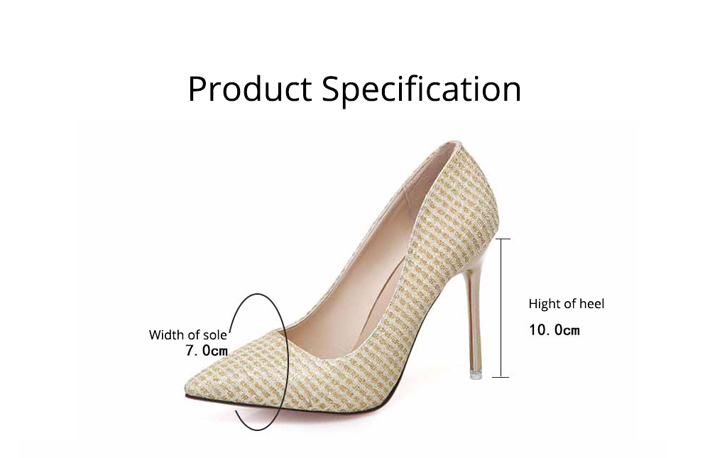 Women Pointy High-heeled Shiny Shoes, Shiny Heel for Wedding, Parties & Banquet High Heels 8