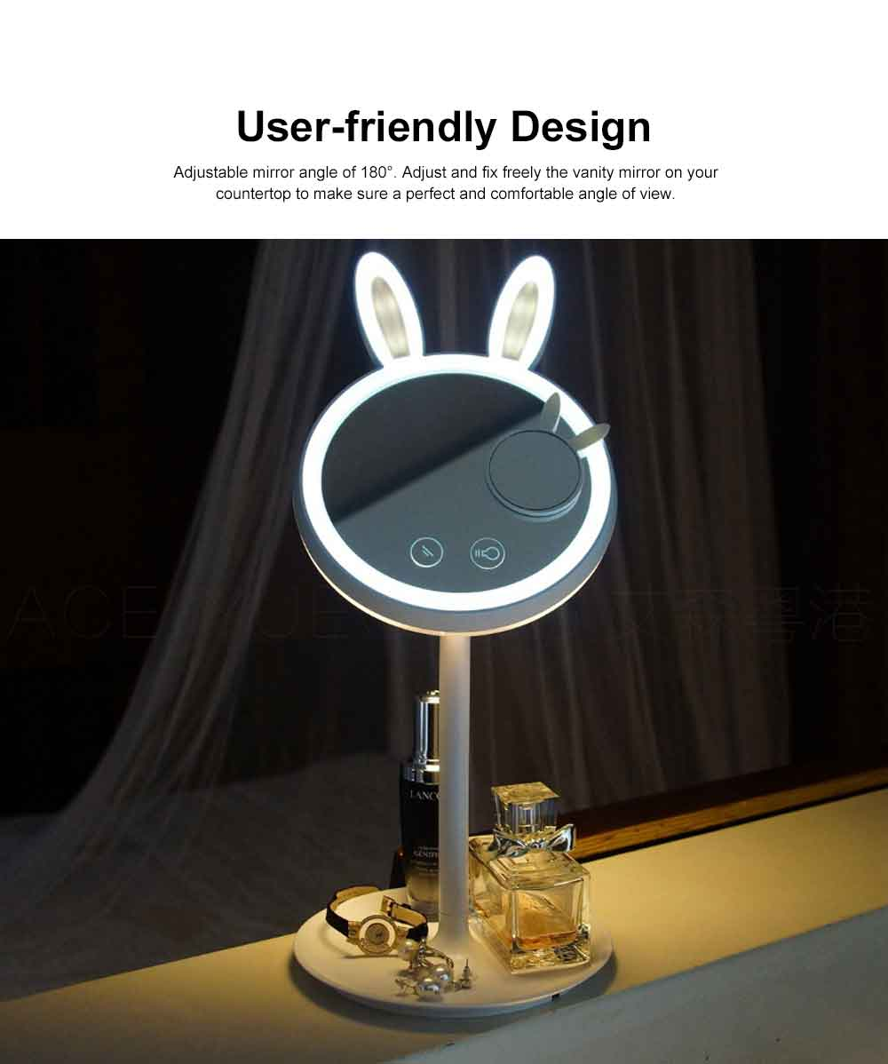 Rabbit LED Makeup Mirror Cute 3 Color Lighting Modes, USB Charging Lighted Up Mirror, Table lamp with Magnification 3