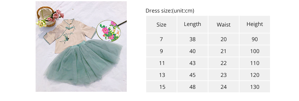 Baby Girls' Ethnic Sets Two-Piece Improved Hanfu Traditional Costume Stand Collar Embroidered Tops + Skirt 7