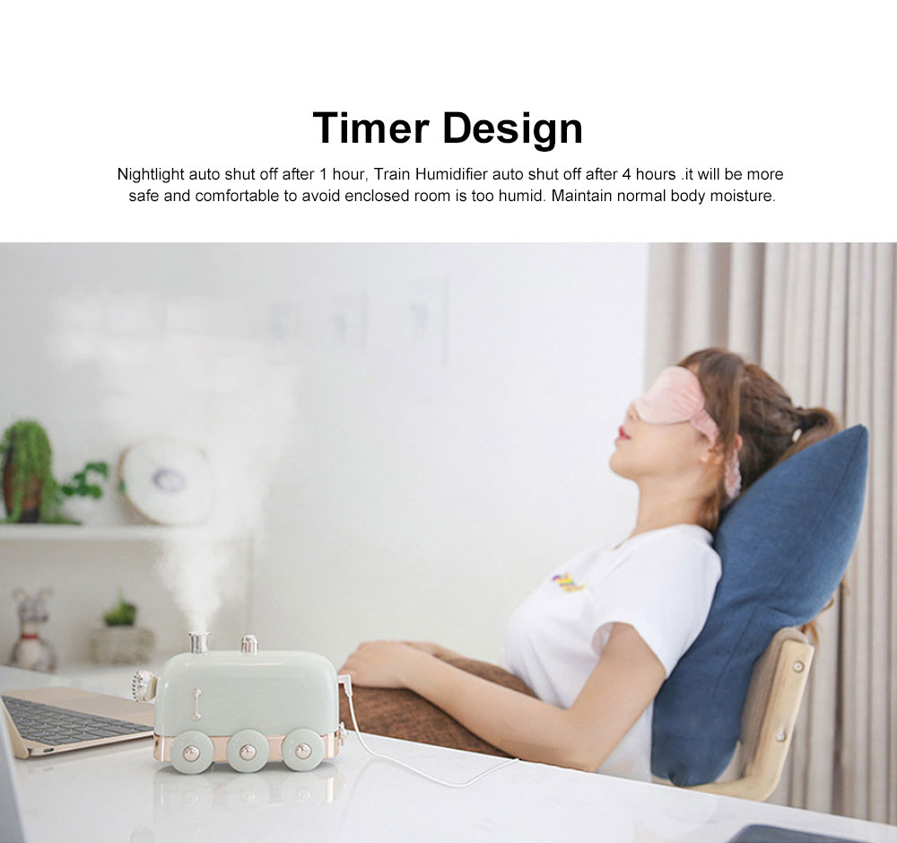 Min Train Humidifiers Cool Mist Summer Mute Diffuser with Color Change Nightlight for Office Home Bedroom Living Room 3