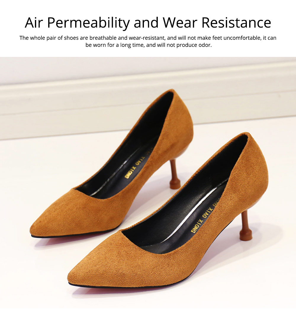Lady Cusp high-heeled shoes, Spring and Autumn 2019 New Korean Version Baitao Shallow-mouthed Fine-heeled Single Shoes Social Professional Work Shoes 6