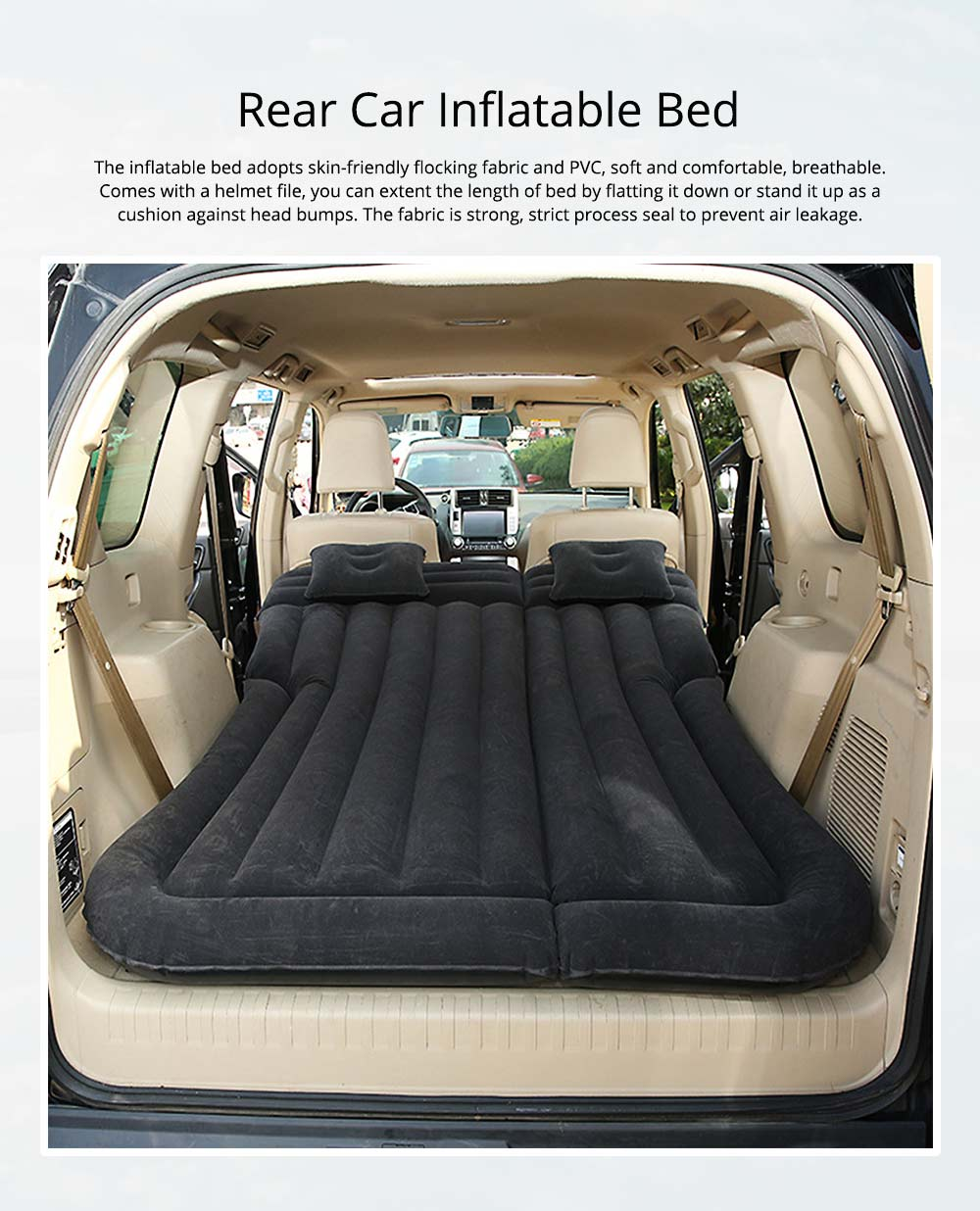 Rear Car Inflatable Bed, Inflatable Travel Car Mattress Air Bed Back Seat Sleep Rest Mat with Pillow 0