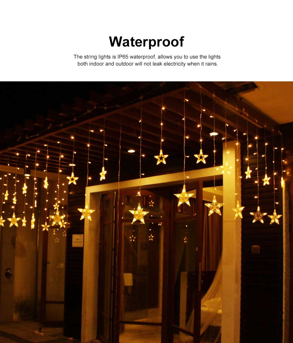 Star Curtain Light String Power Saving Waterproof IP65 LED Decor Lights 108 LED Star String Lights 8 Modes Stars Shaped String Lights with Remote for Indoor Outdoor 3