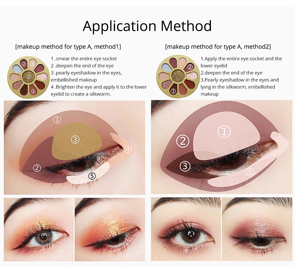 11 Colors Round Eyeshadow Palette, Shiny Palette with Brush, Makeup Tools Best Gifts for Lady, Shimmer Eyeshadow 8