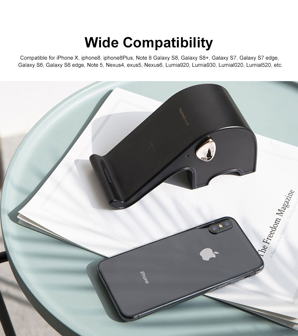 Elephant Wireless Charger Stand Fast Charging Phone Holder Set Base Kit for iphone X, iphone 8, iphone 8 Plus, Samsung, Nexus, Nokia etc 3