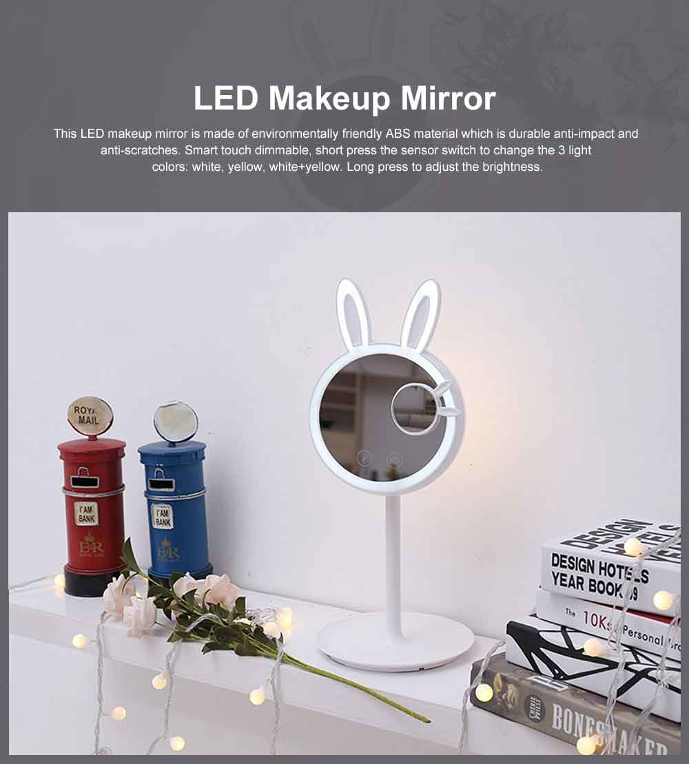 Rabbit LED Makeup Mirror Cute 3 Color Lighting Modes, USB Charging Lighted Up Mirror, Table lamp with Magnification 0