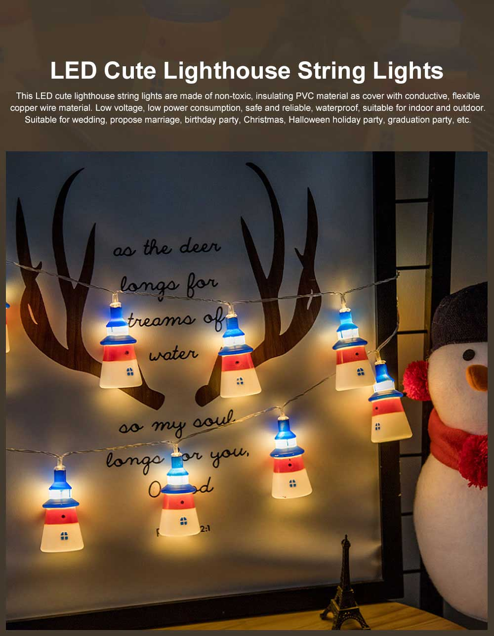 LED Cute Lighthouse String Lights Copper Wire Romantic Atmosphere Decoration LED Light String Flash Colorful Lamp for Indoor Outdoor Decorations 0