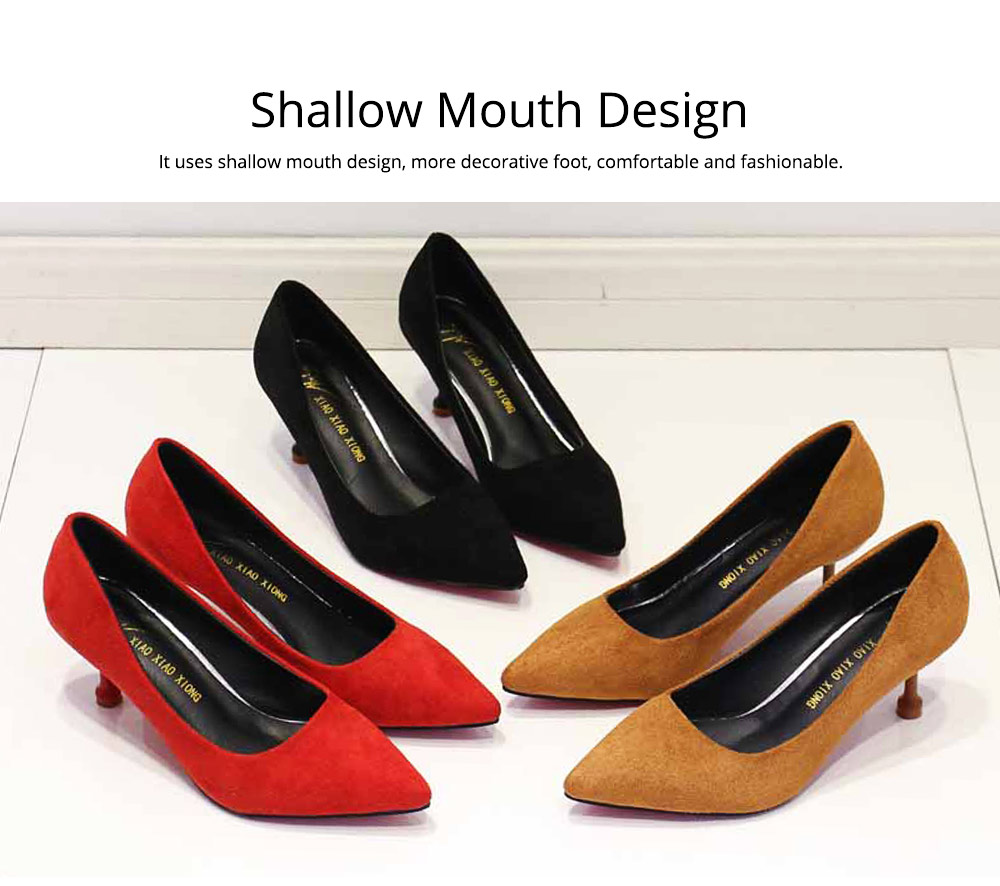 Lady Cusp high-heeled shoes, Spring and Autumn 2019 New Korean Version Baitao Shallow-mouthed Fine-heeled Single Shoes Social Professional Work Shoes 1