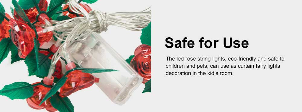 LED Rose Flower String Lights Copper Wire Battery Operated Lights Romantic Rose Lamp for Wedding Home Party Birthday Festival Indoor Outdoor Decorations 5