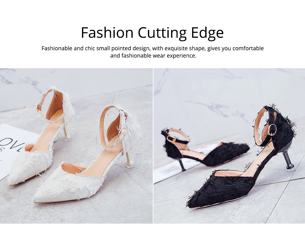 Fine-heeled Pointed High-heeled Shoes, Easy Marching One-word Button Middle Heels, Women's Hollow Sandals 1