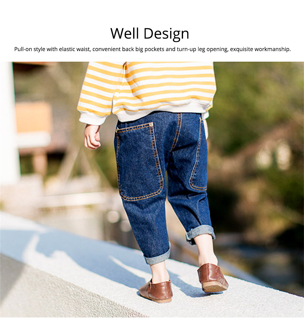 Toddler Kids Pure Cotton Denim Jeans, Breathable Warm Baby Fall Pants with Big Pockets, Baby Loose Pants 2