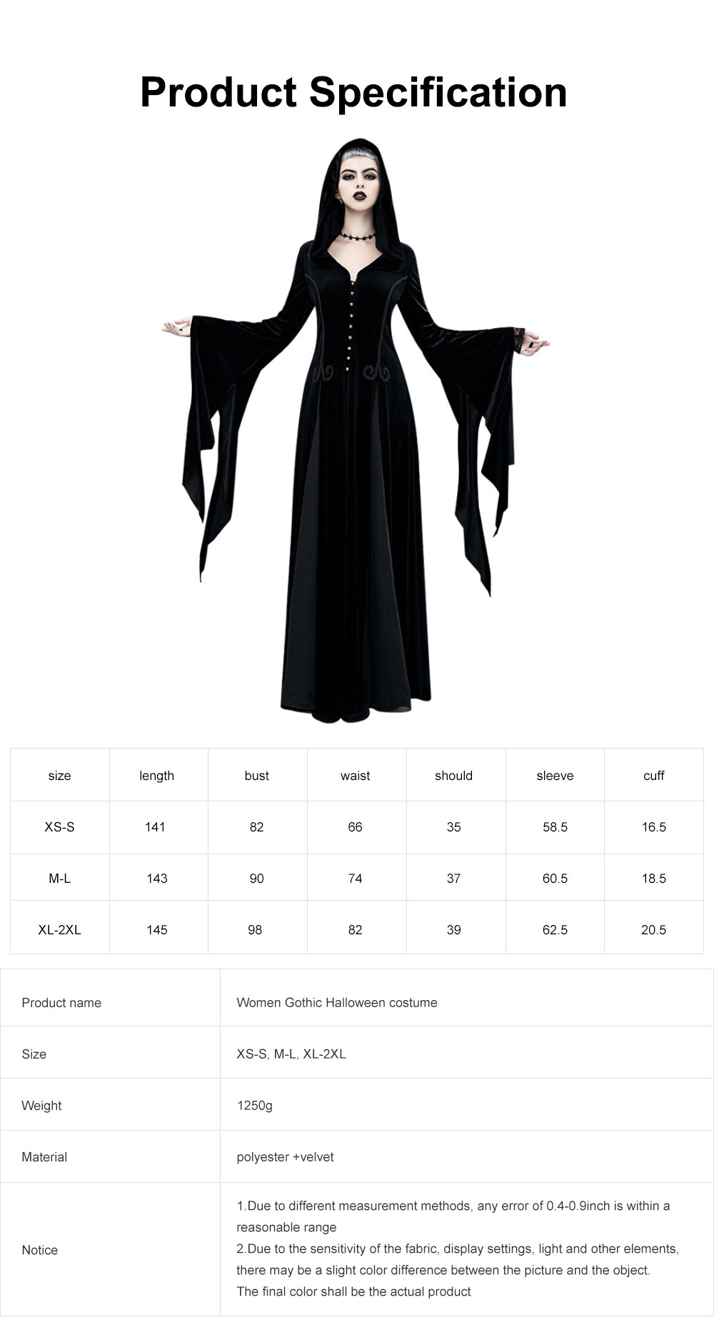 Women Gothic Halloween Costume, Renaissance Medieval Cosplay Dress Black, Long Sleeve Hooded Witch Dress Victorian Costume 6