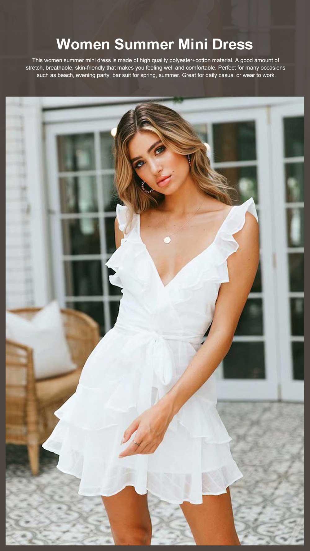 Women Summer Mini Dress Ruffle V-neck Side Split Sleeveless Boho Dress High Waist Tie A Line Sweat Beach Dresses Best Gifts for Women 0