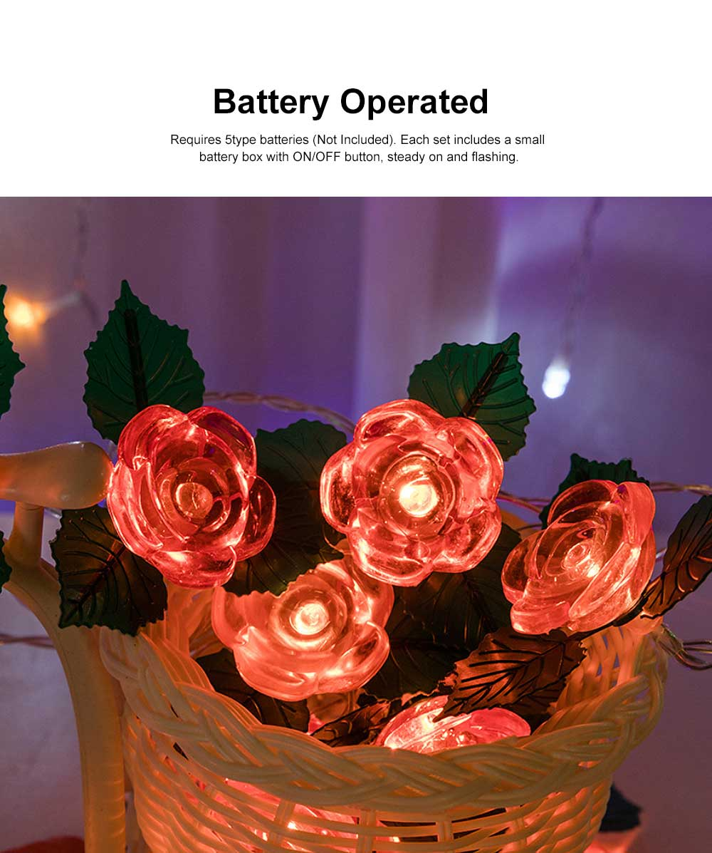 LED Rose Flower String Lights Copper Wire Battery Operated Lights Romantic Rose Lamp for Wedding Home Party Birthday Festival Indoor Outdoor Decorations 3