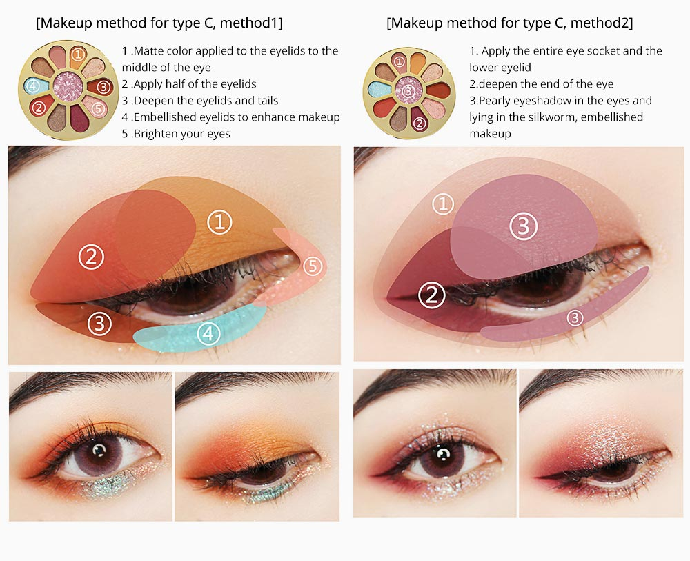 11 Colors Round Eyeshadow Palette, Shiny Palette with Brush, Makeup Tools Best Gifts for Lady, Shimmer Eyeshadow 10