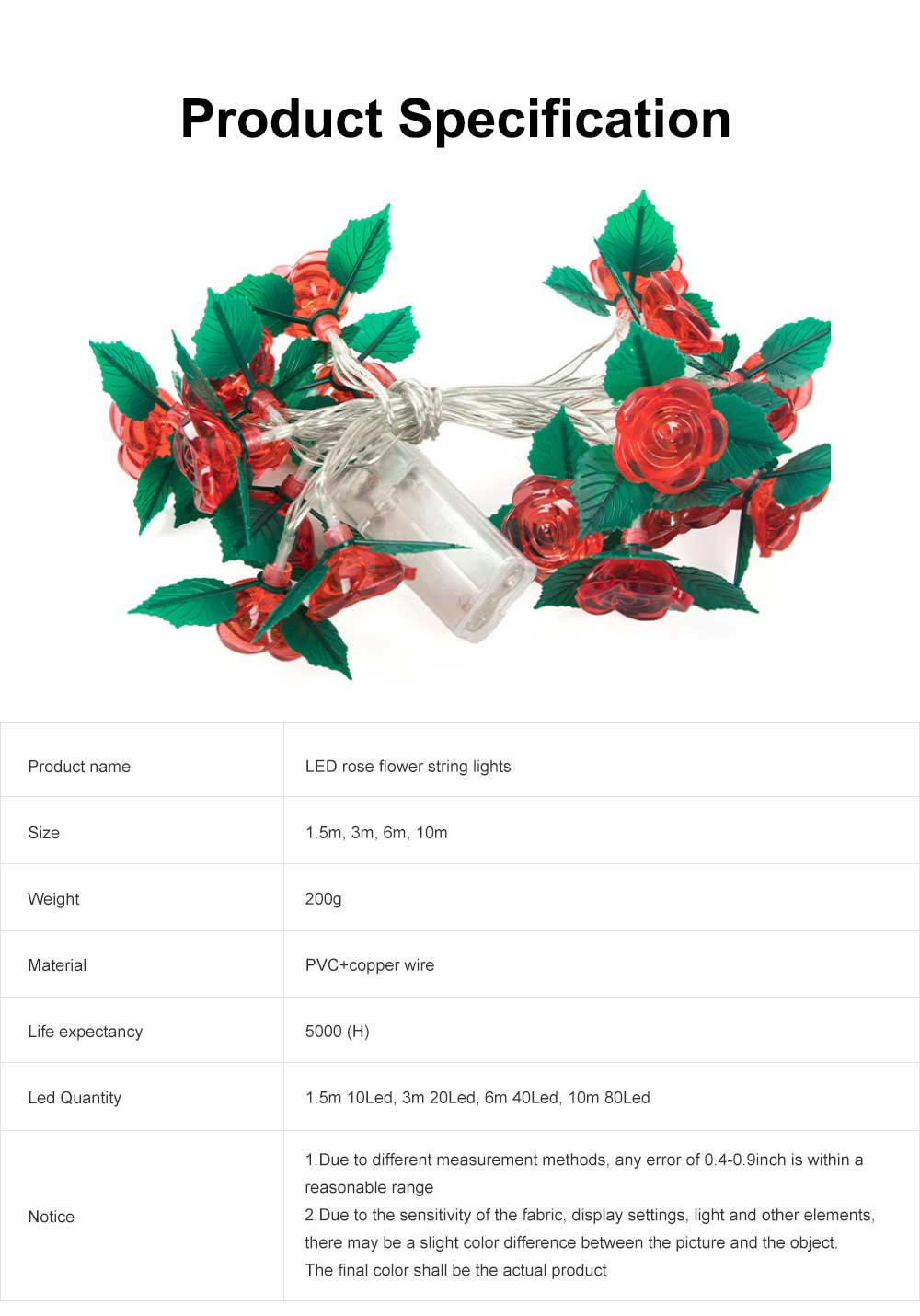 LED Rose Flower String Lights Copper Wire Battery Operated Lights Romantic Rose Lamp for Wedding Home Party Birthday Festival Indoor Outdoor Decorations 6