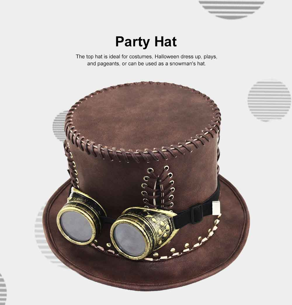 Unisex Steampunk Top Hat Retro Punk Rustic PU Leather Lace Up Punk Gentleman Hat for Costumes, Halloween Party 1
