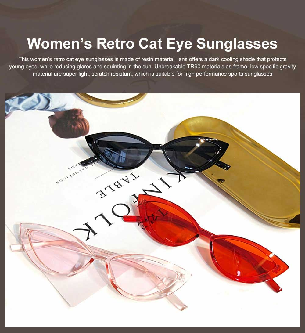 Women's Retro Cat Eye Sunglasses 100% UV protection Resin Lens Dark Sunglasses Best Gifts for Women 0
